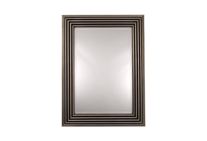 Zamora Silver Leaf & Black Over Mantel Mirror by Buckleys