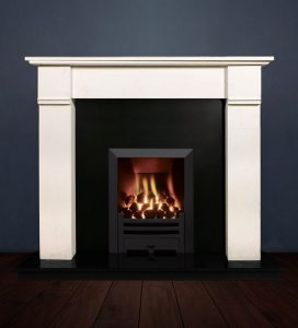 The Abbey fireplace package with Logic NE Natural Gas Fire, manual control with convectional flue in a matt black finish. Available form Buckley Fireplaces Dublin, supplied and installed.