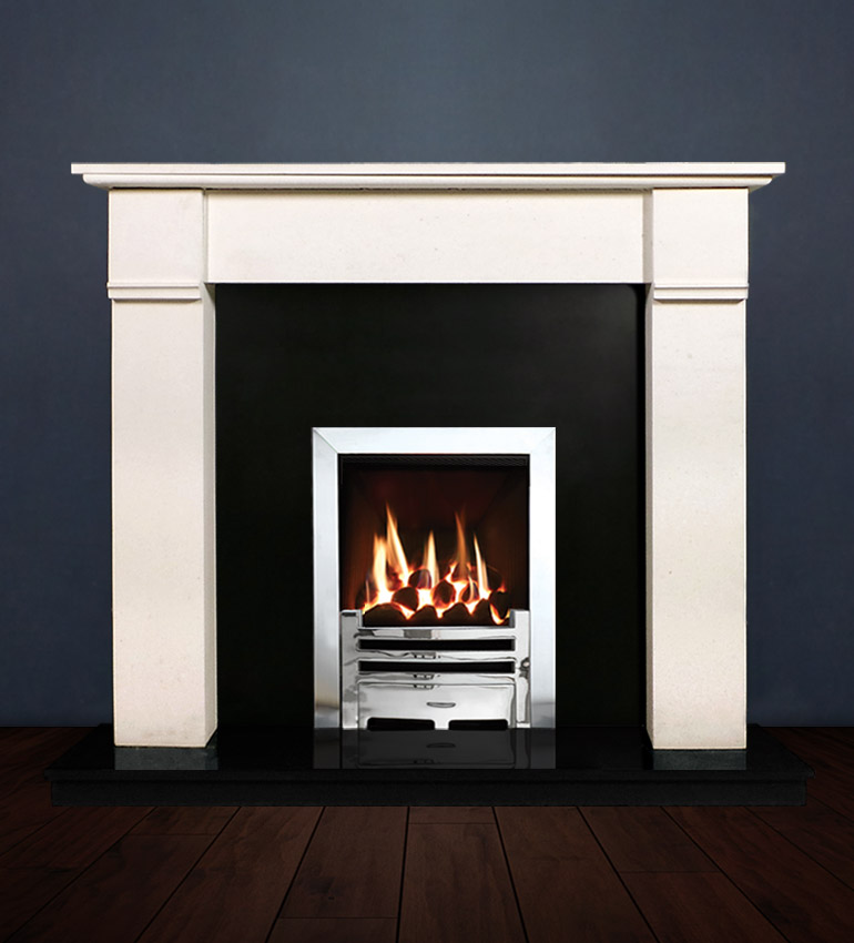 The Abbey fireplace package with Logic NE Natural Gas Fire, remote control with convectional flue in a chrome finish. Available form Buckley Fireplaces Dublin, supplied and installed.