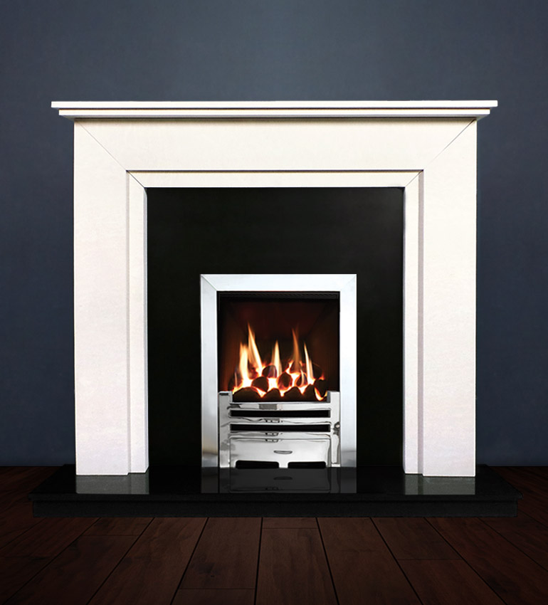 The Aspen fireplace package with Logic NE Natural Gas Fire, remote control with convectional flue in a chrome finish. Available form Buckley Fireplaces Dublin, supplied and installed.