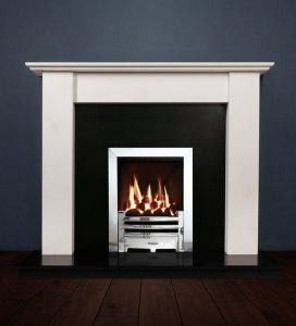 The Merlin fireplace package with Logic NE Natural Gas Fire, remote control with convectional flue in a chrome finish. Available form Buckley Fireplaces Dublin, supplied and installed.