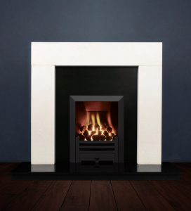 The Modern fireplace package with Logic NE Natural Gas Fire, manual control with convectional flue in a matt black finish. Available form Buckley Fireplaces Dublin, supplied and installed.